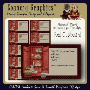 Business card templates country primitive archives country graphics business card template primitive red cupboard colourmoves