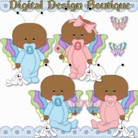 Lil Butterfly Baby Clipart 2
