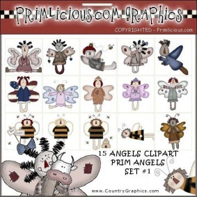 Angel Country Primitive Clip Art Set 1