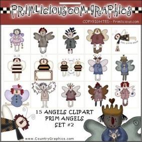 Angel Country Primitive Clip Art Set 2