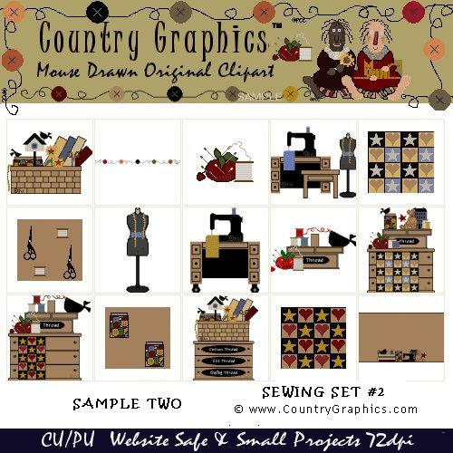 Sewing Clip Art Graphics Country Style - Country Graphics™