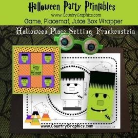 Frankenstein Halloween Party Printables Set