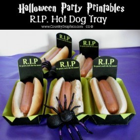 Halloween Printable RIP HOT DOG TRAYS