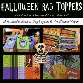 Halloween Bag Toppers & Digital Papers