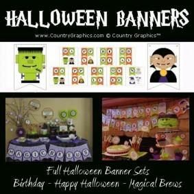 Halloween Banners - Magic Brews, Happy Halloween, Happy Birthday