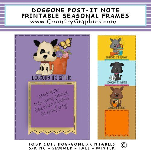 image regarding Printable Post Its called Posting It Observe Frames Seasonal DOGGONE