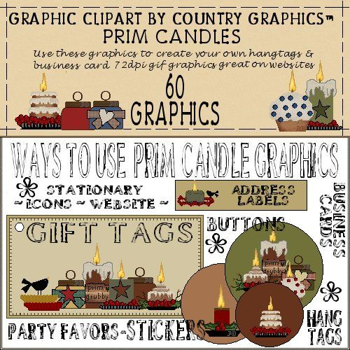 Prim Candles Country Clipart - Country Graphics™