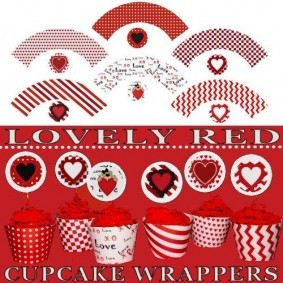 Printable Valentine Cupcake Wrappers Red
