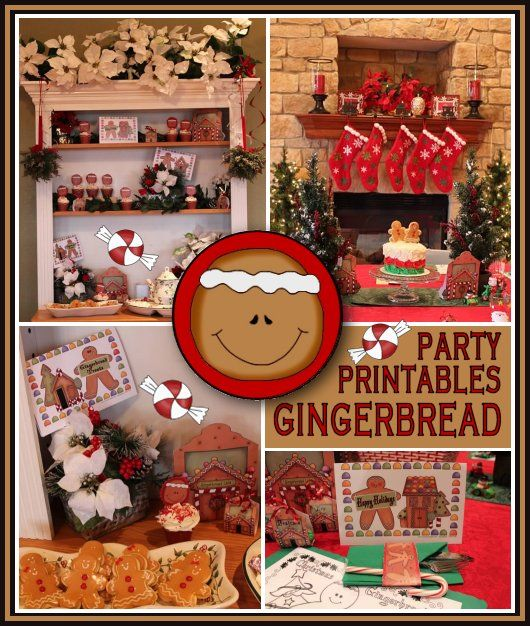 Country Christmas Party Ideas Part - 17: New Gingerbread Party Printables