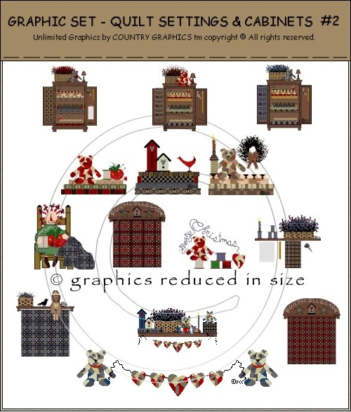 Country Primitive Quilt Clip Art Graphic Set - Country ...