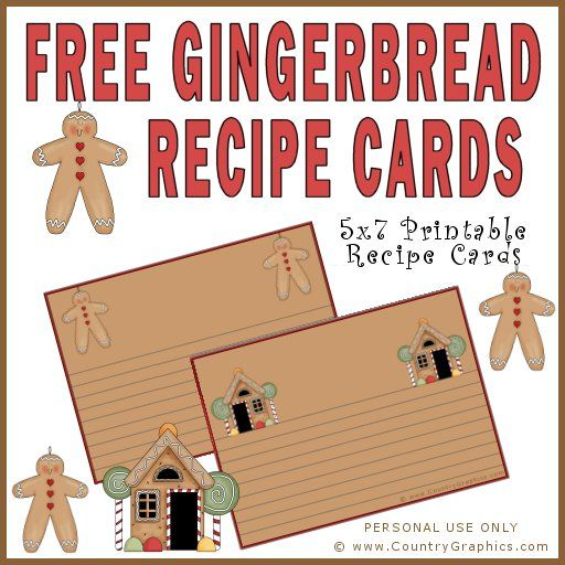 Free Printables Gingerbread Recipe Card - Country Graphics™