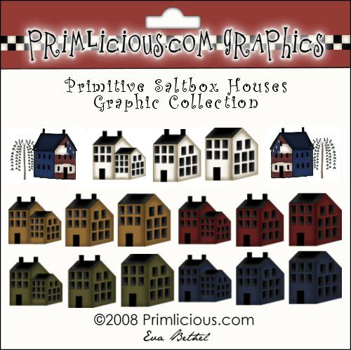 Primitive Saltbox House Clipart Graphics Country Graphics