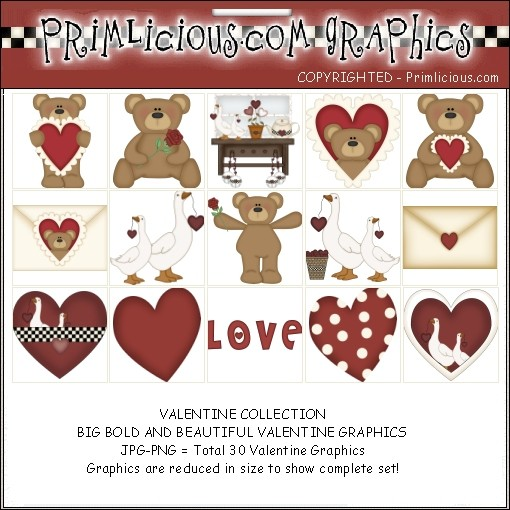 Valentines Day Teddy Bear Clipart Graphic Set - Country Graphics™