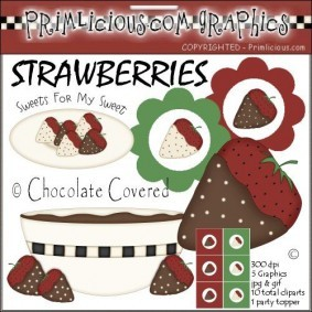 Chocolate Covered Strawberries Clipart Set