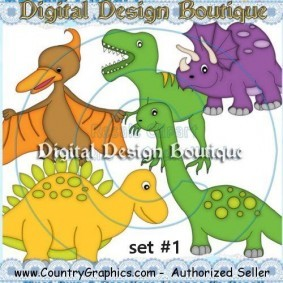 Baby Dinosaurs Clipart Set 1