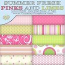 Summer Fresh Pinks Limes Digital Papers