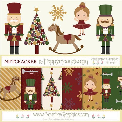 Nutcracker Christmas Tree Clipart.Nutcracker Digital Papers Nutcracker Graphics