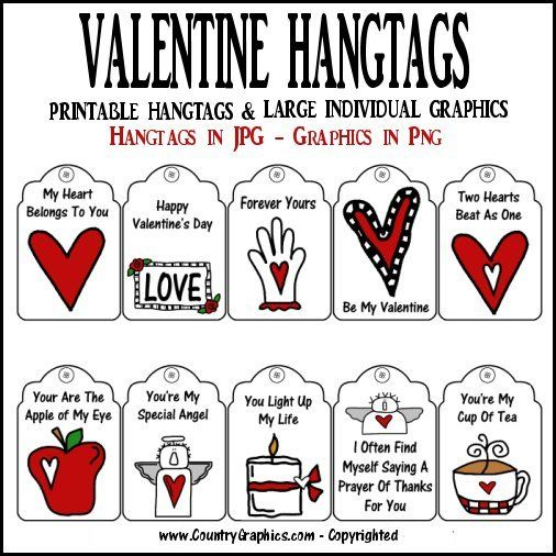 photo regarding Printable Hang Tags identified as PRINTABLE VALENTINE Hold TAGS