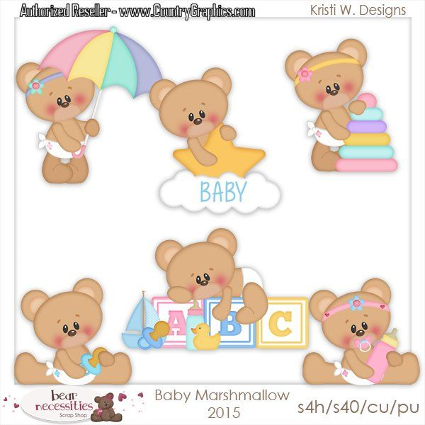 Baby Shower Bears Clipart Set Country Graphics