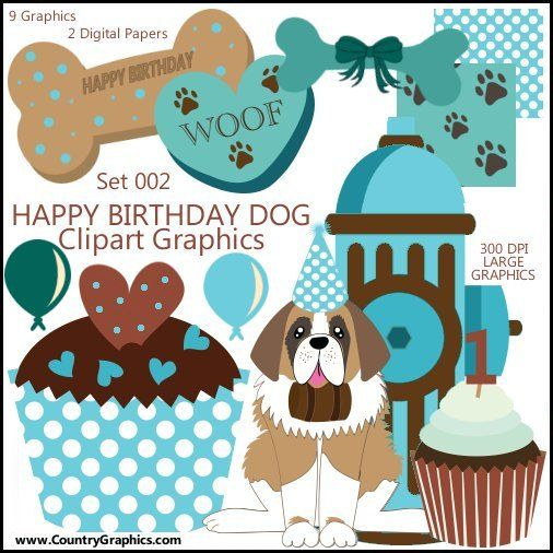 Happy Birthday Dog Clipart Graphics 002 Country Graphics